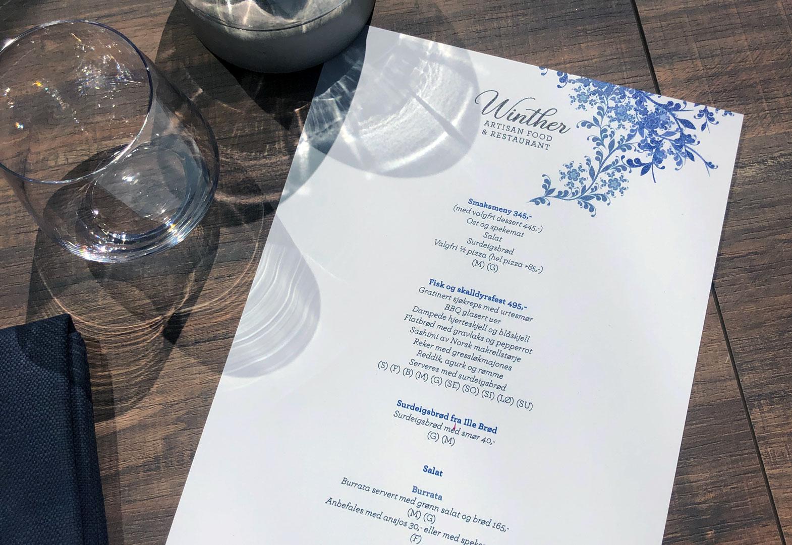Design og produksjon av Meny for Winther Restaurant.